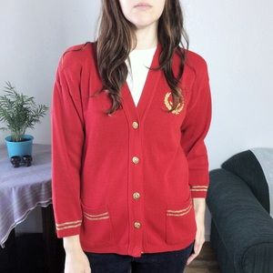 Bay Point Threads • vintage nautical red cardigan